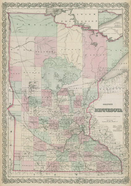 Colton's Minnesota. Decorative antique US state map 1869 old chart
