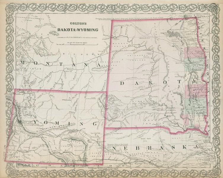Colton's Dakota & Wyoming. Decorative antique US state map 1869 old