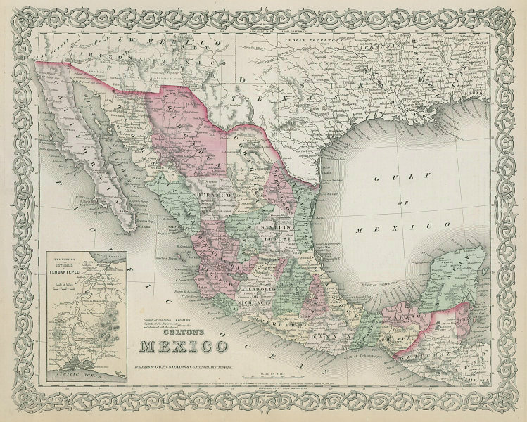 Colton's Mexico. Decorative antique map 1869 old plan chart