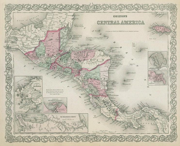 Colton's Central America. Decorative antique map. Honduras Guatemala 1869