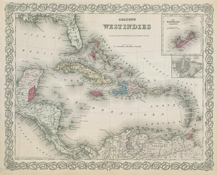 Colton's West Indies. Bermuda & Havana. Caribbean Antilles 1869 old map