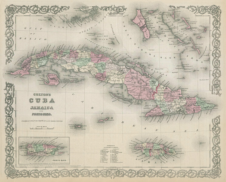 Colton's Cuba, Jamaica and Porto Rico. Puerto Rico. Bahamas 1869 old map