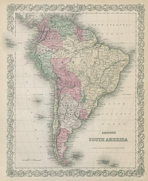 Colton's South America. Bolivian Litoral. Decorative antique map 1869 old
