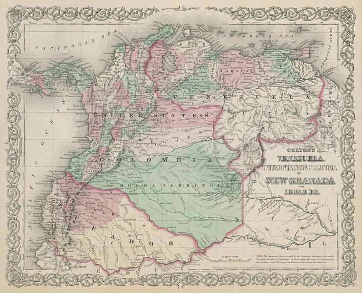 Colton's Venezuela, United States of Colombia or New Granada & Ecuador 1869 map
