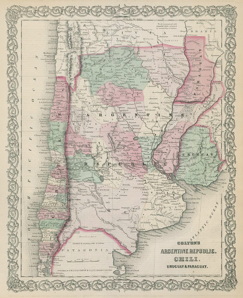 Colton's Argentine Republic, Chili, Uruguay & Paraguay. Argentina Chile 1869 map