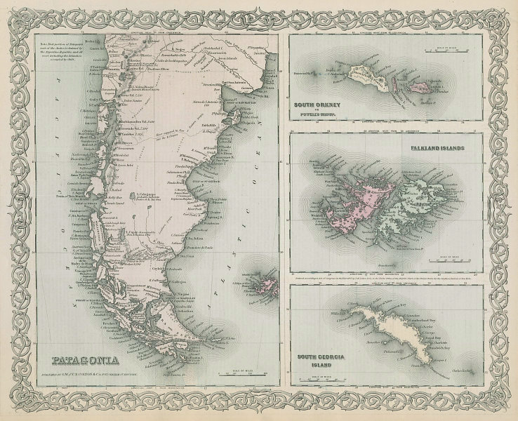 Colton's Patagonia, South Orkney, Falkland Islands & South Georgia 1869 map