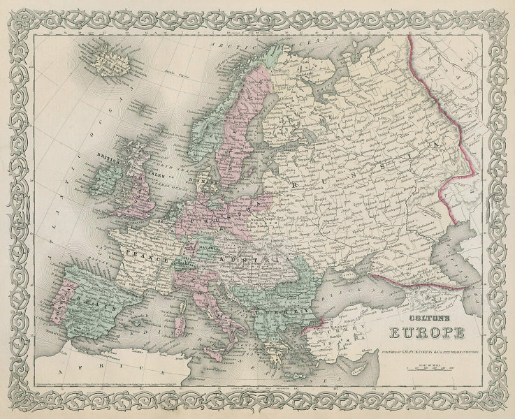 Colton's Europe. Decorative antique map 1869 old plan chart