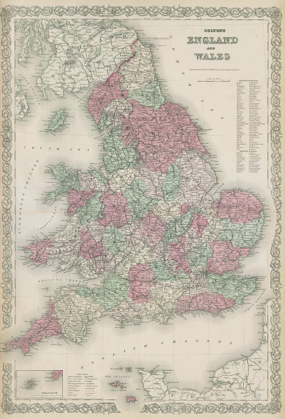 Colton's England and Wales in counties. Decorative antique map 1869 old