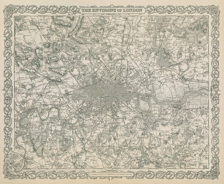 The environs of London. Decorative antique map. COLTON 1869 old