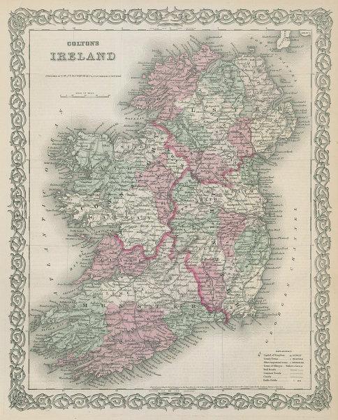 Colton's Ireland. Decorative antique map 1869 old plan chart
