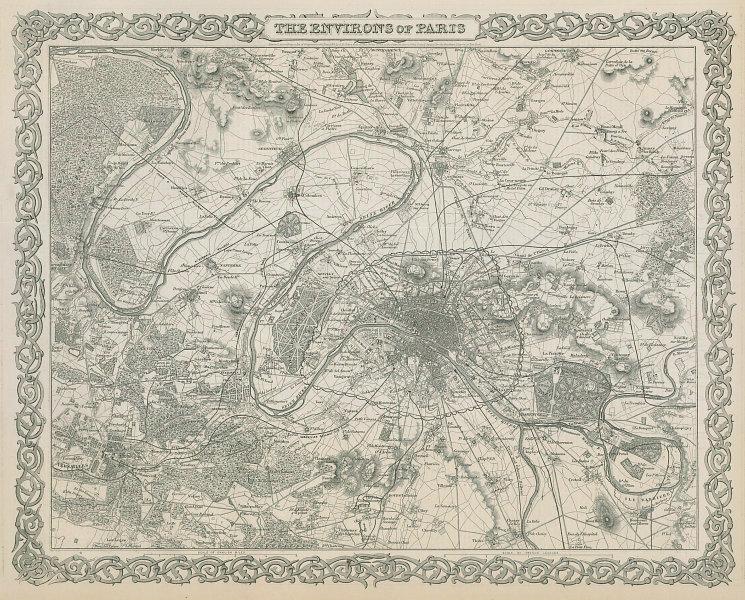 The environs of Paris. Decorative antique map. COLTON 1869 old