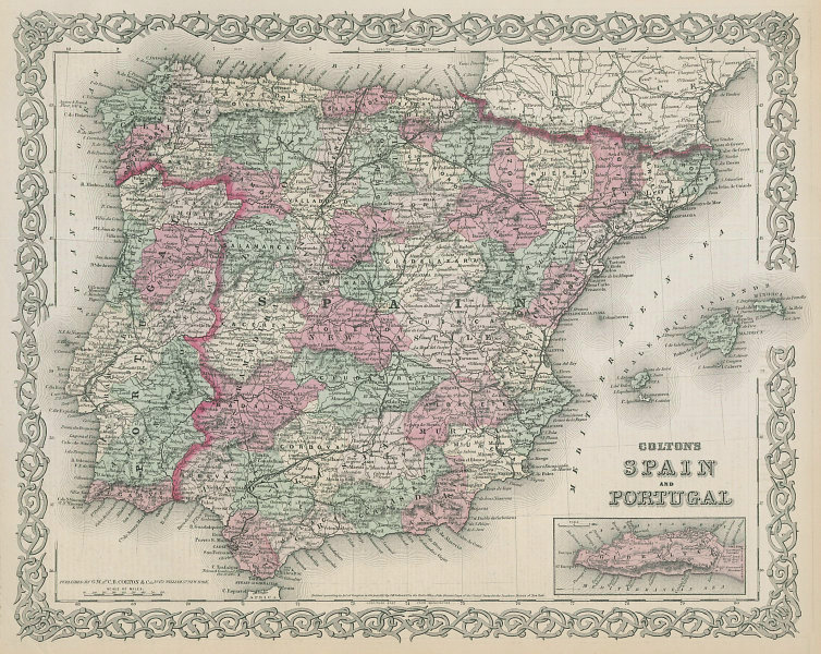 Colton's Spain and Portugal in regions & provinces. Iberia 1869 old map