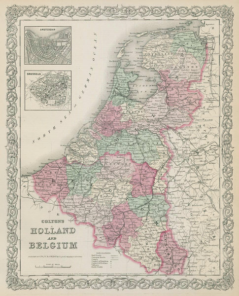 Colton's Holland and Belgium. Amsterdam & Brussels plans. Benelux 1869 old map
