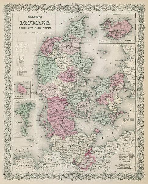 Colton's Denmark. Iceland Faroe Islands Bornholm. Schleswig-Holstein 1869 map