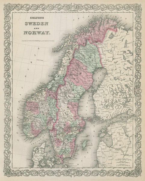 Colton's Sweden and Norway. Decorative antique map. Scandinavia 1869 old
