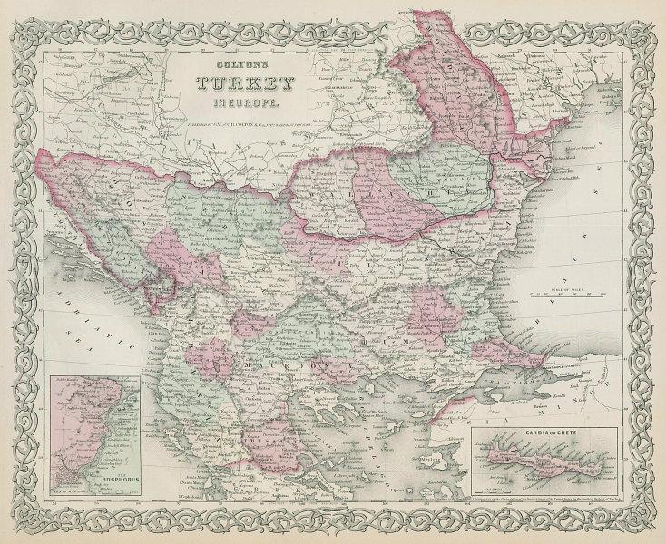 Colton's Turkey in Europe. Balkans Rumilia Wallachia Macedonia Bosnia 1869 map