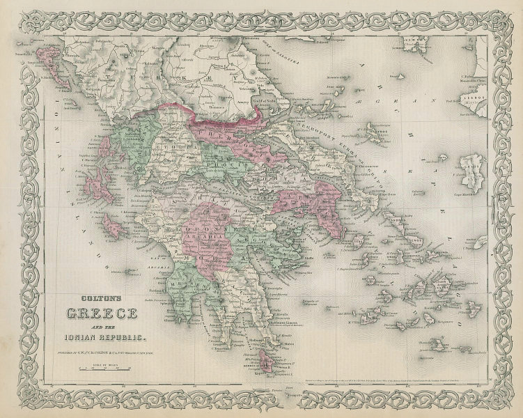 Colton's Greece and the Ionian Republic. Cyclades Aegean Sporades 1869 old map