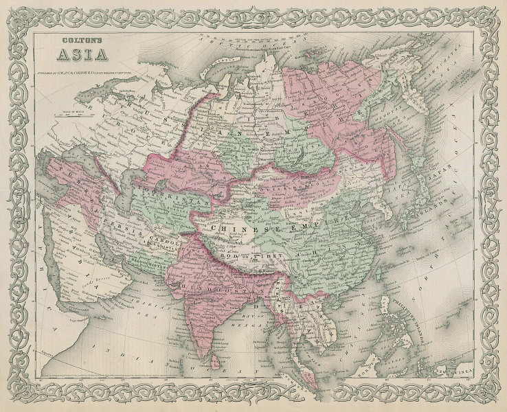 Colton's Asia. 'Bod or Tibet' Chinese Empire Toorkistan Hindoostan 1869 map