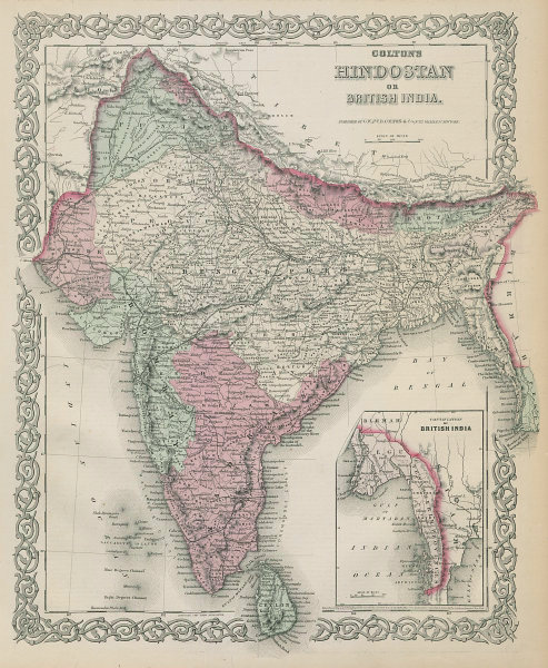 Colton's Hindostan or British India. Nepal Burma Bhutan Ceylon 1869 old map