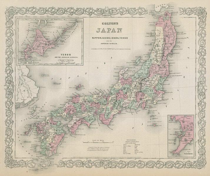 Colton's Japan. Nippon, Kiusiu, Sikok, Yesso and the Japanese Kuriles 1869 map