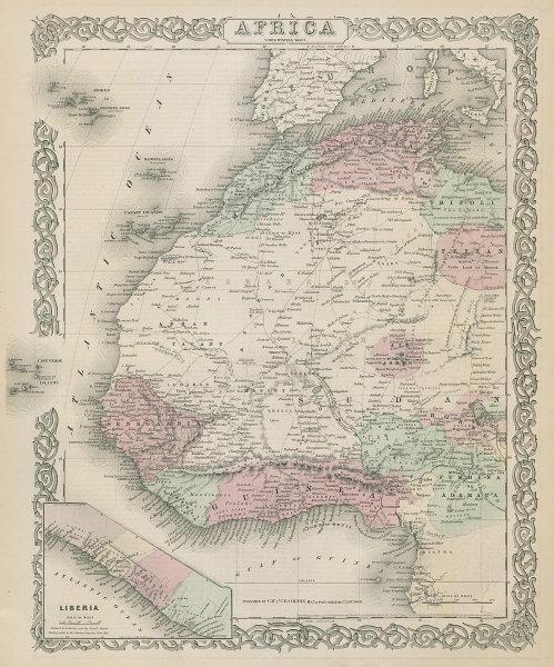 West Africa. Liberia Sahara Senegambia Guinea. Mountains of Kong COLTON 1869 map