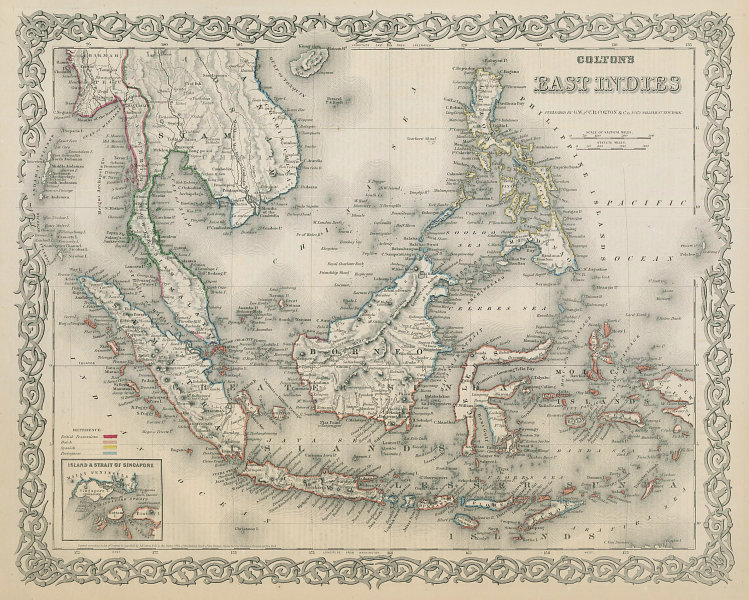 East Indies. Malaysia Indonesia Philippines Indochina Singapore. COLTON 1869 map