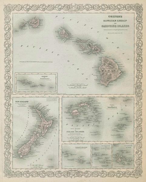 Pacific Islands. Hawaii New Zealand Fiji Tonga Polynesia Samoa. COLTON 1869 map