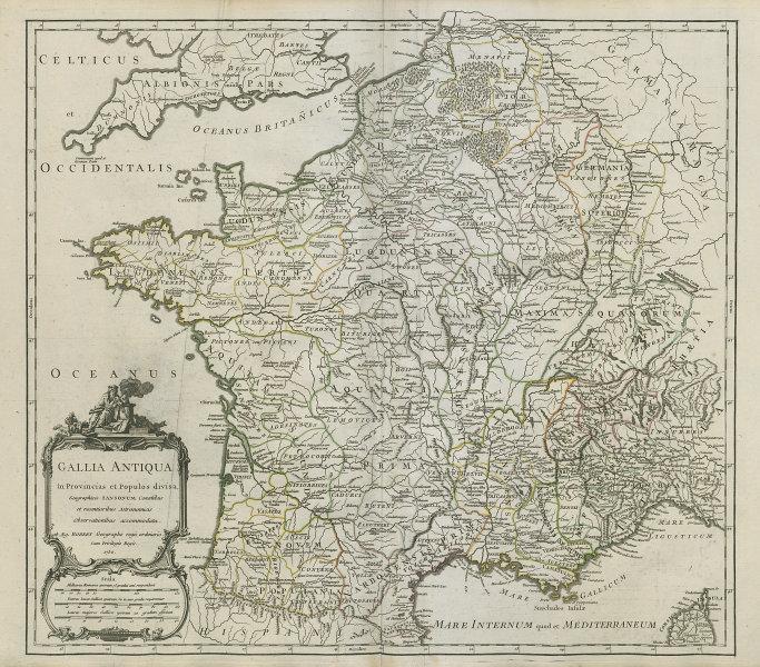 """""""Gallia Antiqua in provincias…"""" Ancient Gaul. France. VAUGONDY 1750 old map"""