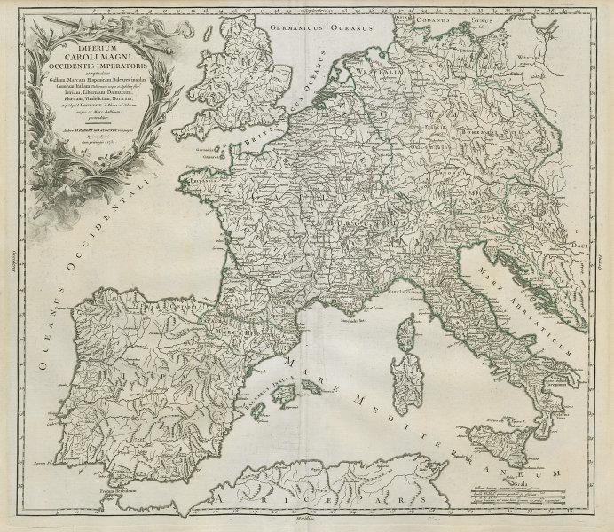 """Imperium Caroli Magni…"" Empire of Charlemagne. Western Europe VAUGONDY 1752 map"