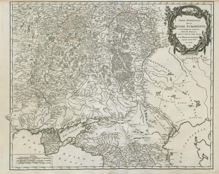 """""""Partie Méridionale de la Russie Européenne"""" Ukraine Russia. VAUGONDY 1752 map"""