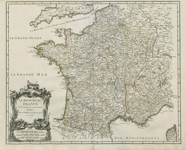 Le Royaume de France divisé suivant les Gouvernemens généraux. VAUGONDY 1750 map