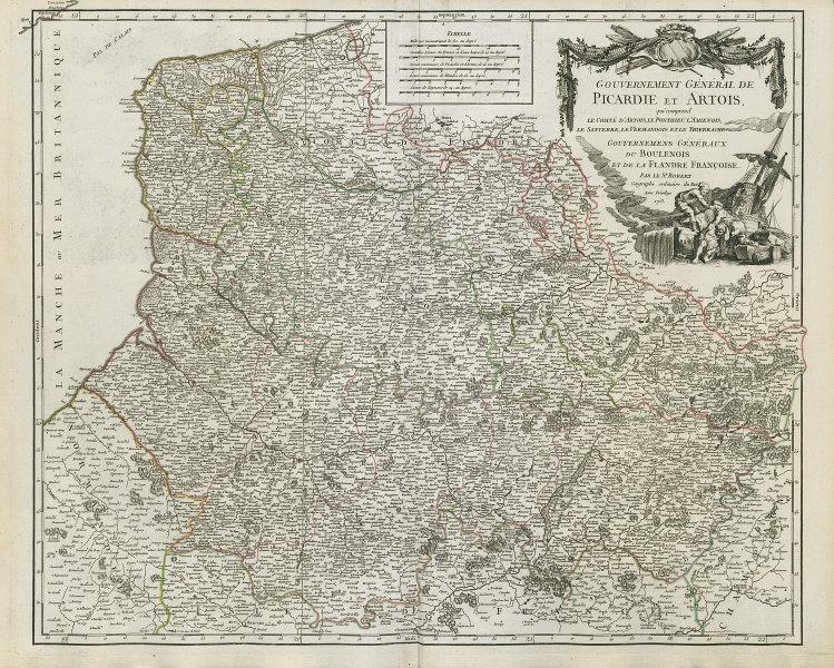 """""""Gouvernement Générale de Picardie et Artois"""". Hauts-de-France VAUGONDY 1753 map"""
