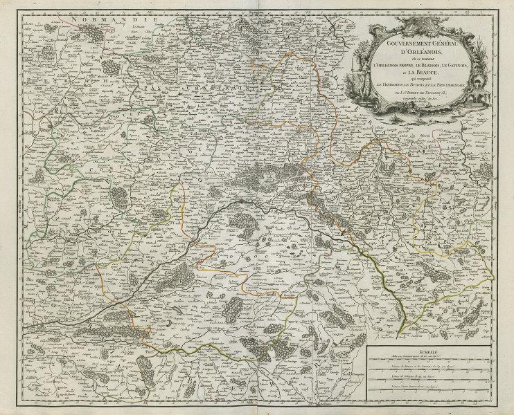 """""""Gouvernement Général d'Orléanois"""" Centre-Val de Loire. France VAUGONDY 1753 map"""