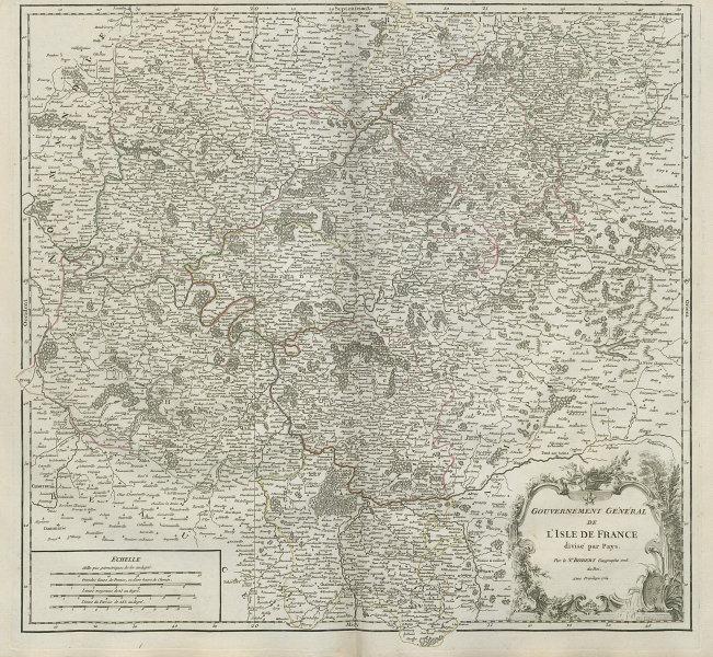 """""""Gouvermement Général de l'Isle de France"""" Ile-de-France Paris VAUGONDY 1754 map"""