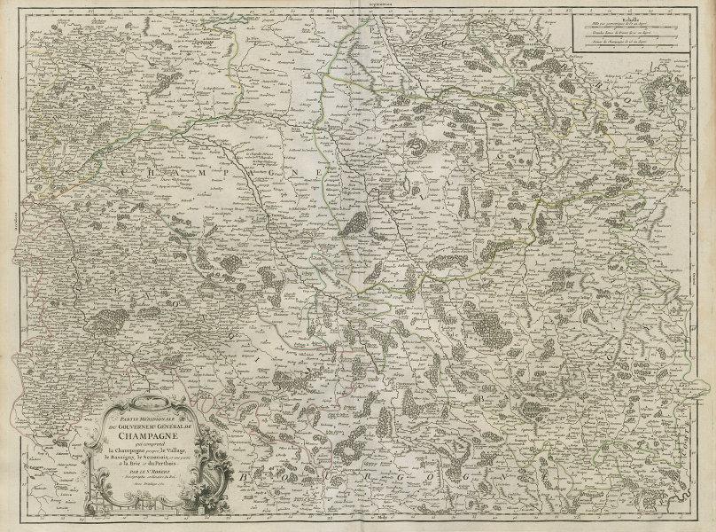 """""""Partie Méridionale du Gouvernemt. Général de Champagne"""". VAUGONDY 1752 map"""