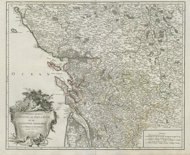 """""""Gouv. Généraux du Poitou, du Pays d'Aunis…"""" Vendée Charente. VAUGONDY 1753 map"""