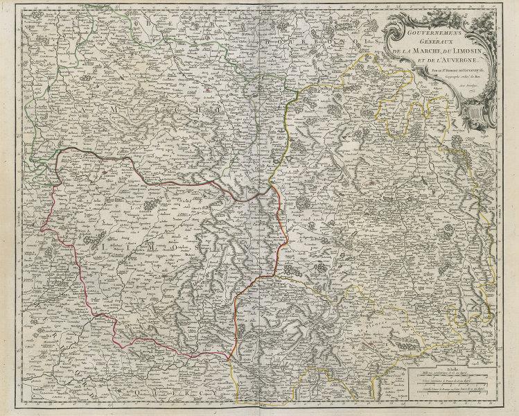 """""""Gouv. Généraux de la Marche, du Limosin & de l'Auvergne"""". VAUGONDY 1753 map"""