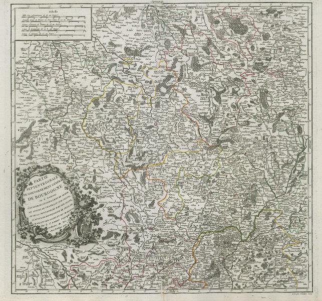 """""""Partie Septentrionale du Gouv. Général de Bourgogne"""" Burgundy VAUGONDY 1752 map"""
