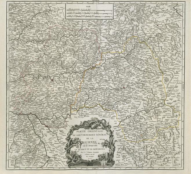 Partie Orientale du Gouv. Général de la Guienne. Midi-Pyrénées VAUGONDY 1753 map