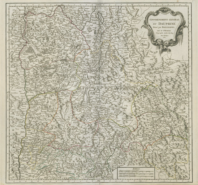 """""""Gouvernement Général du Dauphiné"""". Isère Drôme Hautes-Alpes. VAUGONDY 1751 map"""