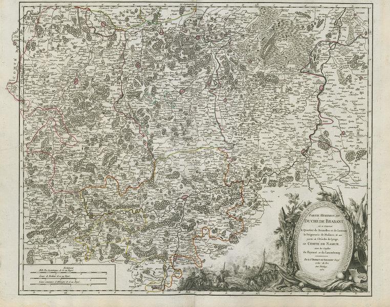 """""""Partie Meridion. du Duché de Brabant"""". South Brabant Belgium. VAUGONDY 1752 map"""