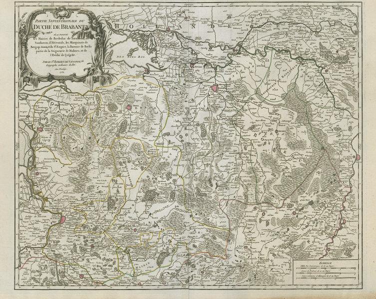 """""""Partie Septentrionale du Duché de Brabant"""" North. Limburg NL. VAUGONDY 1752 map"""