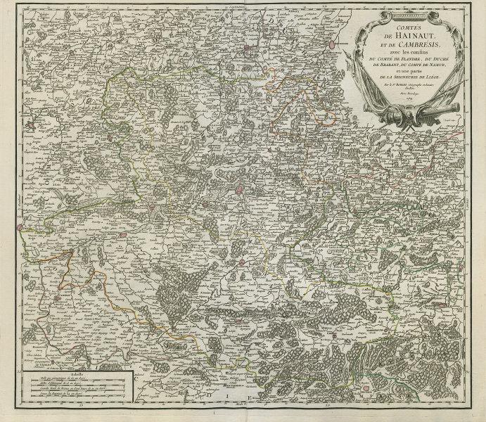 """""""Comtés de Hainaut, et de Cambrésis"""". Belgium/France. Cambrai. VAUGONDY 1754 map"""