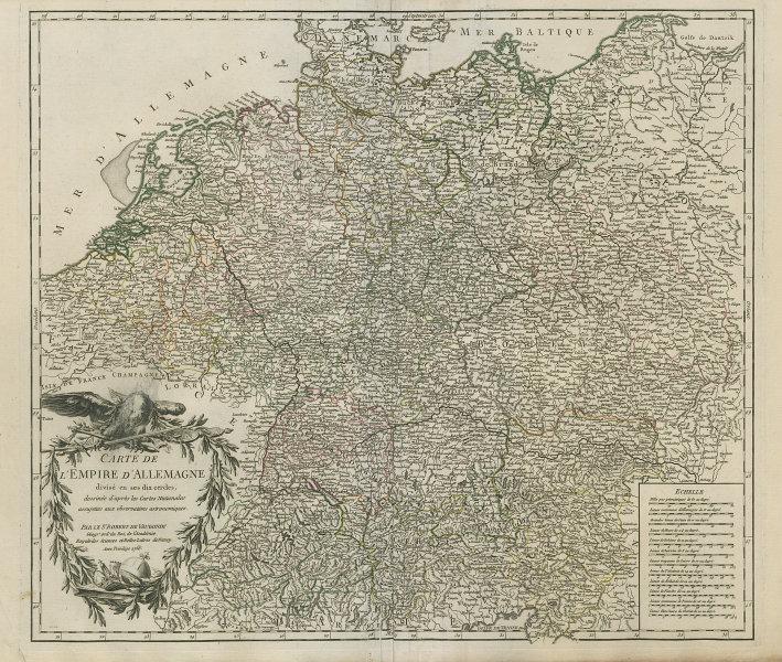 """""""Carte de l'Empire d'Allemagne"""". Germany Austria Czechia. VAUGONDY 1756 map"""