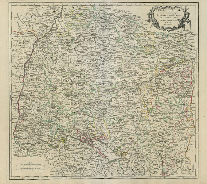 """Cercle de Souabe"". Swabia. Baden-Württemberg. SW Germany. VAUGONDY 1751 map"