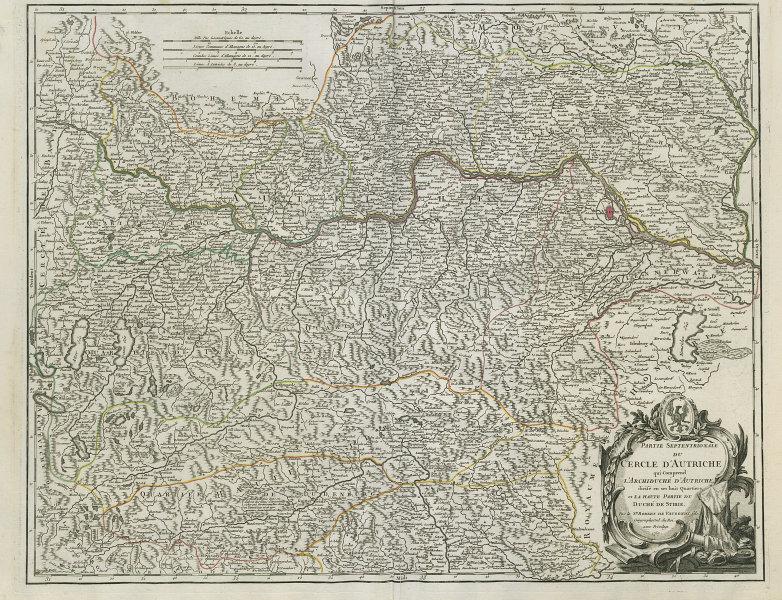 """""""Partie Septentrionale du Cercle d'Autriche"""". Northern Austria VAUGONDY 1752 map"""