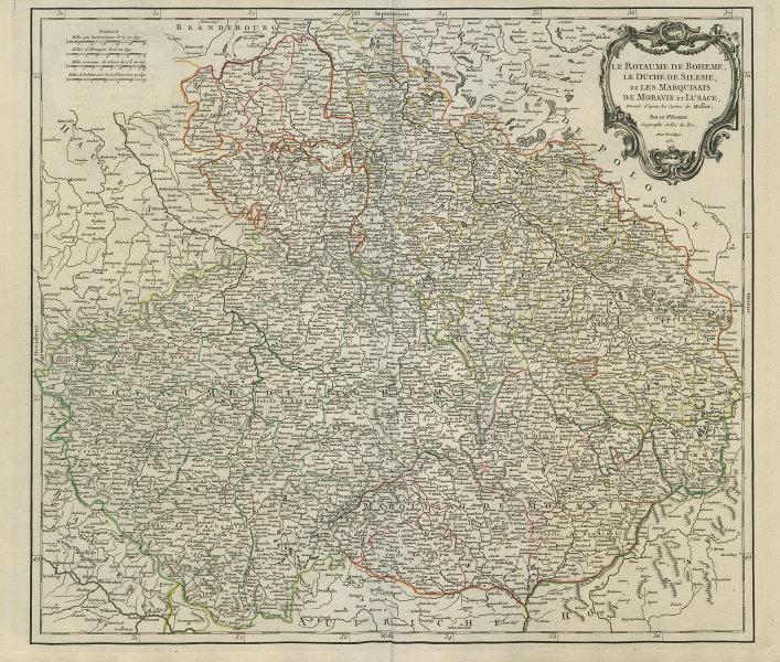 """""""Le Royaume de Boheme, le Duché de Silesie…"""" Czechia & Silesia VAUGONDY 1751 map"""
