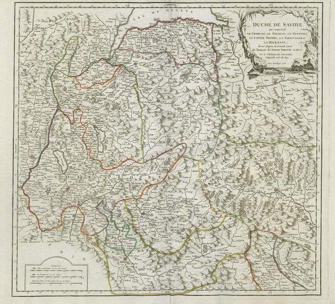 """""""Duché de Savoye…"""" Duchy of Savoie. French Alps. Aosta. VAUGONDY 1751 old map"""