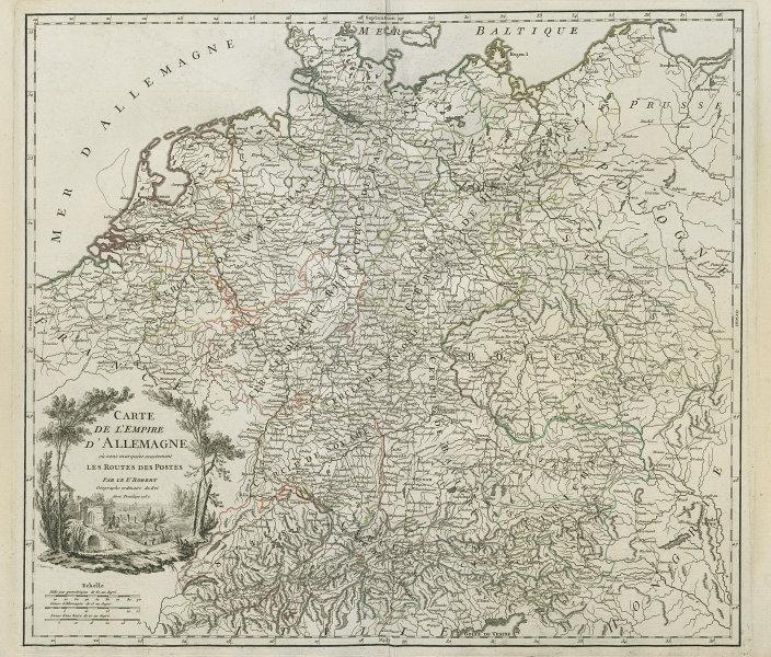 """""""Carte de l'Empire d'Allemagne… les routes des postes"""" Germany VAUGONDY 1757 map"""