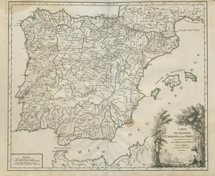 """""""Royaumes d'Espagne et de Portugal… routes des postes"""" Iberia VAUGONDY 1757 map"""